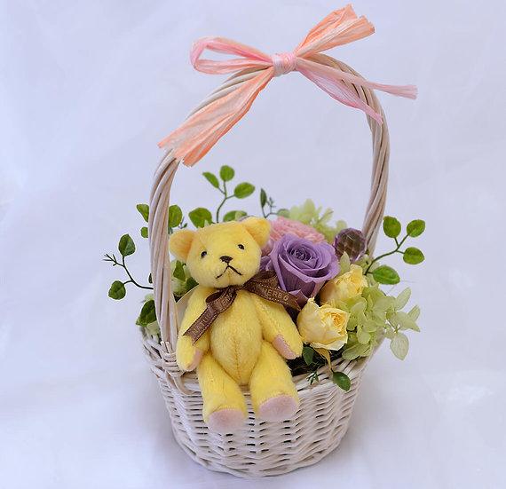 くまとお花摘み テディとローズのプリザーブドフラワーアレンジ【ギフト】