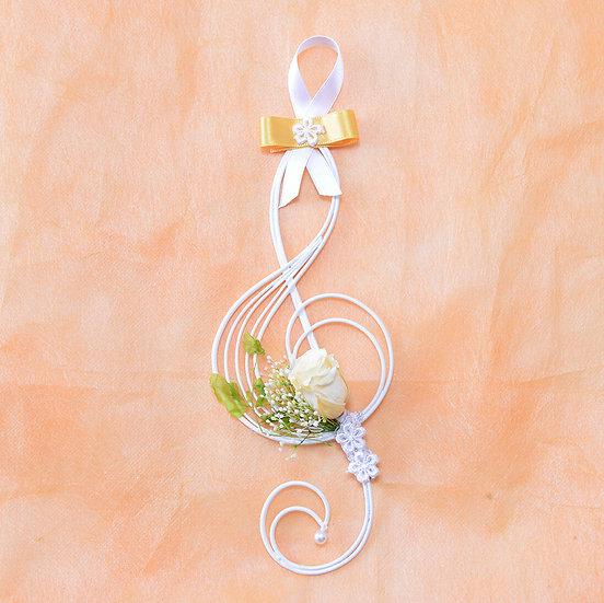 Music Floral - 壁掛けフラワー ト音記号のミュージック・プリザーブドフラワー イエロー
