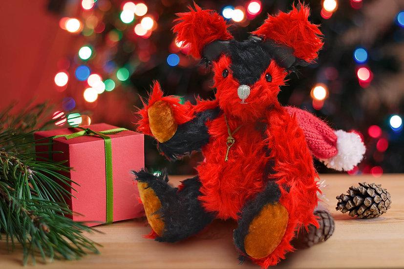 スタイリッシュでエレガント レッド & ブラック【テディベア】【ぬいぐるみ】【クリスマス】【ギフト】※オーダー品