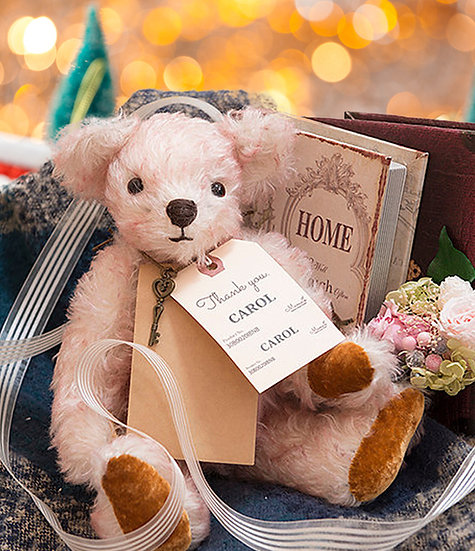 ホワイト&ピンク 癒しのテディベア【テディベア】【ぬいぐるみ】【クリスマス】【ギフト】