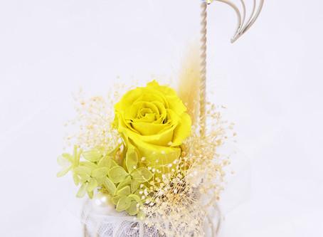 【母の日】フラワー 楽器 音楽会 アレンジ 音符 イエロー ♪  〜 Music Floral series〜