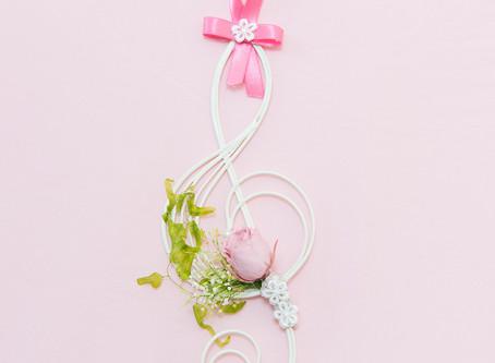 【母の日】フラワー 楽器 音楽会 アレンジ ト音記号 ピンク ♪ 〜 Music Floral series〜