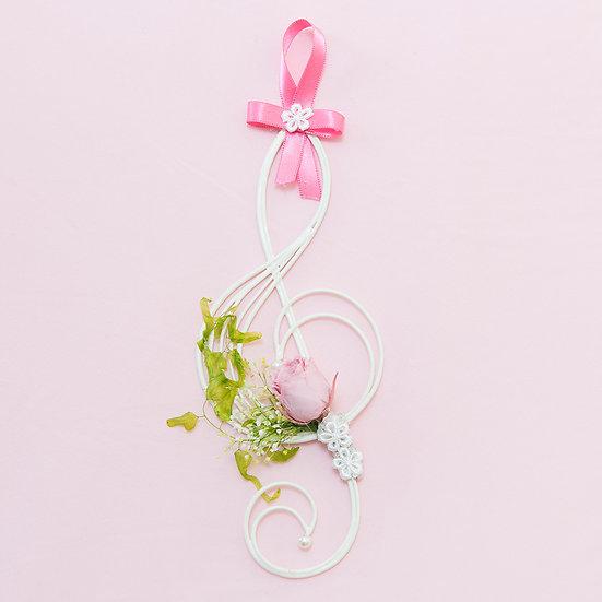 Music Floral - 壁掛けフラワー ト音記号のミュージック・プリザーブドフラワー  ピンク