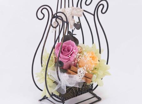 母の日】フラワー 楽器 音楽会 アレンジ ハープ ブラック ♪ 〜 Music Floral series〜
