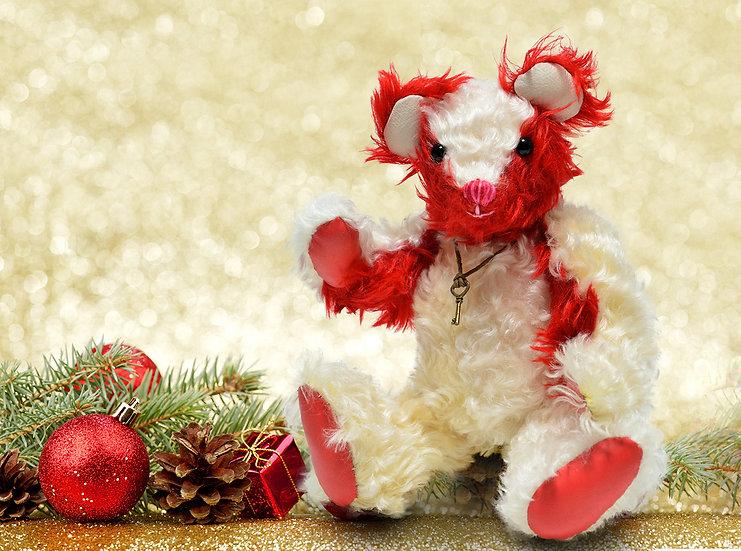 スタイリッシュでモダン ホワイト & レッド【テディベア】【ぬいぐるみ】【クリスマス】【ギフト】