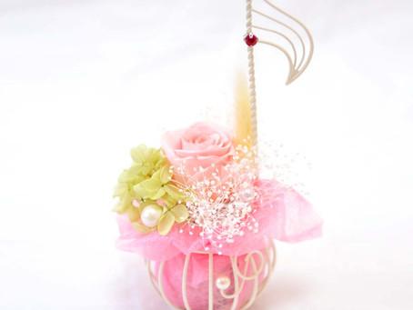 【母の日】フラワー 楽器 音楽会 アレンジ 音符 ピンク ♪  〜 Music Floral series〜