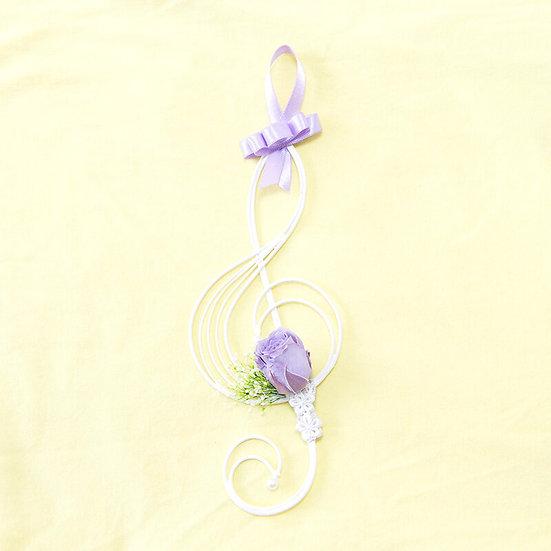 Music Floral -  壁掛けフラワーTreble clef パープル