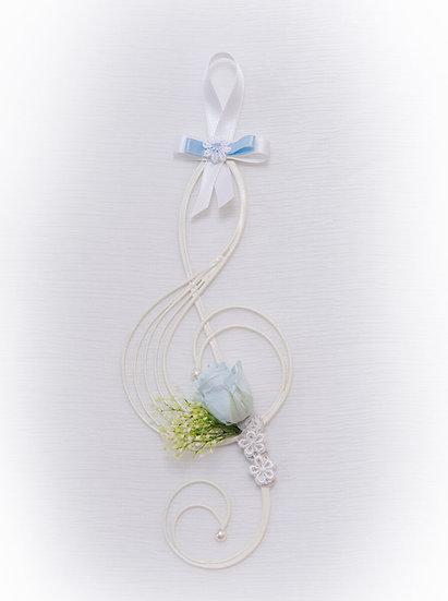 Music Floral - 壁掛けフラワー ト音記号のミュージック・プリザーブドフラワー  ブルー
