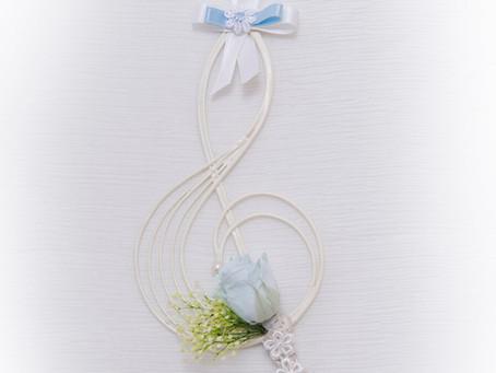【母の日】フラワー 楽器 音楽会 アレンジ ト音記号 ブルー ♪ 〜 Music Floral series〜