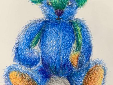 新作テディベア ブルーとクリスタルグリーンの身体と不思議な目を持つベア 新たな世界観へ
