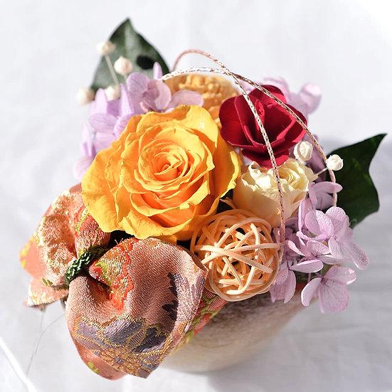和風アレンジ 京都の西陣織の帯結び 薔薇 プリザーブドフラワーアレンジ