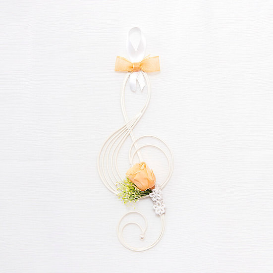 Music Floral -  壁掛けフラワーTreble clef オレンジ