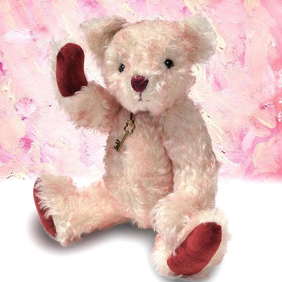 優しいお顔のホワイトピンクのテディベア【テディベア】【ぬいぐるみ】