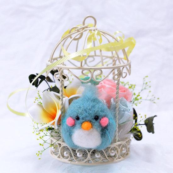 幸せの青い鳥_かわいいマスコットのプリザーブドフラワーアレンジ 【フラワーアレンジ】