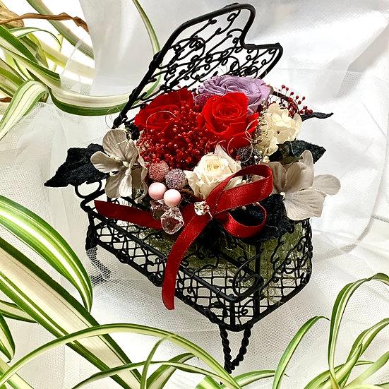 楽器と音楽のフラワーアレンジ ピアノ ブラック 赤い薔薇 【プリザーブドフラワー 】