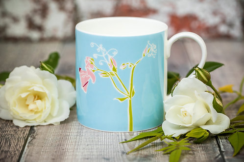 Sweet pea flower mug