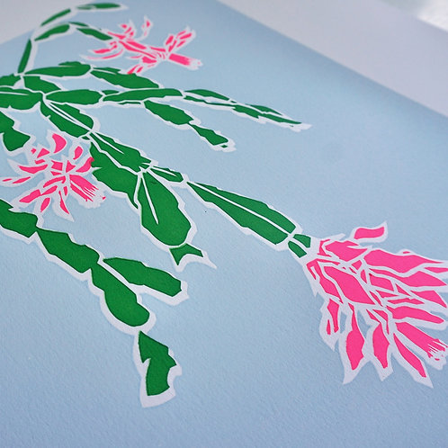 'Christmas cactus' Limited edition, handmade silkscreen print