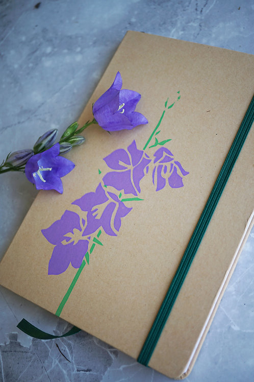 Handprinted recycled floral notebook