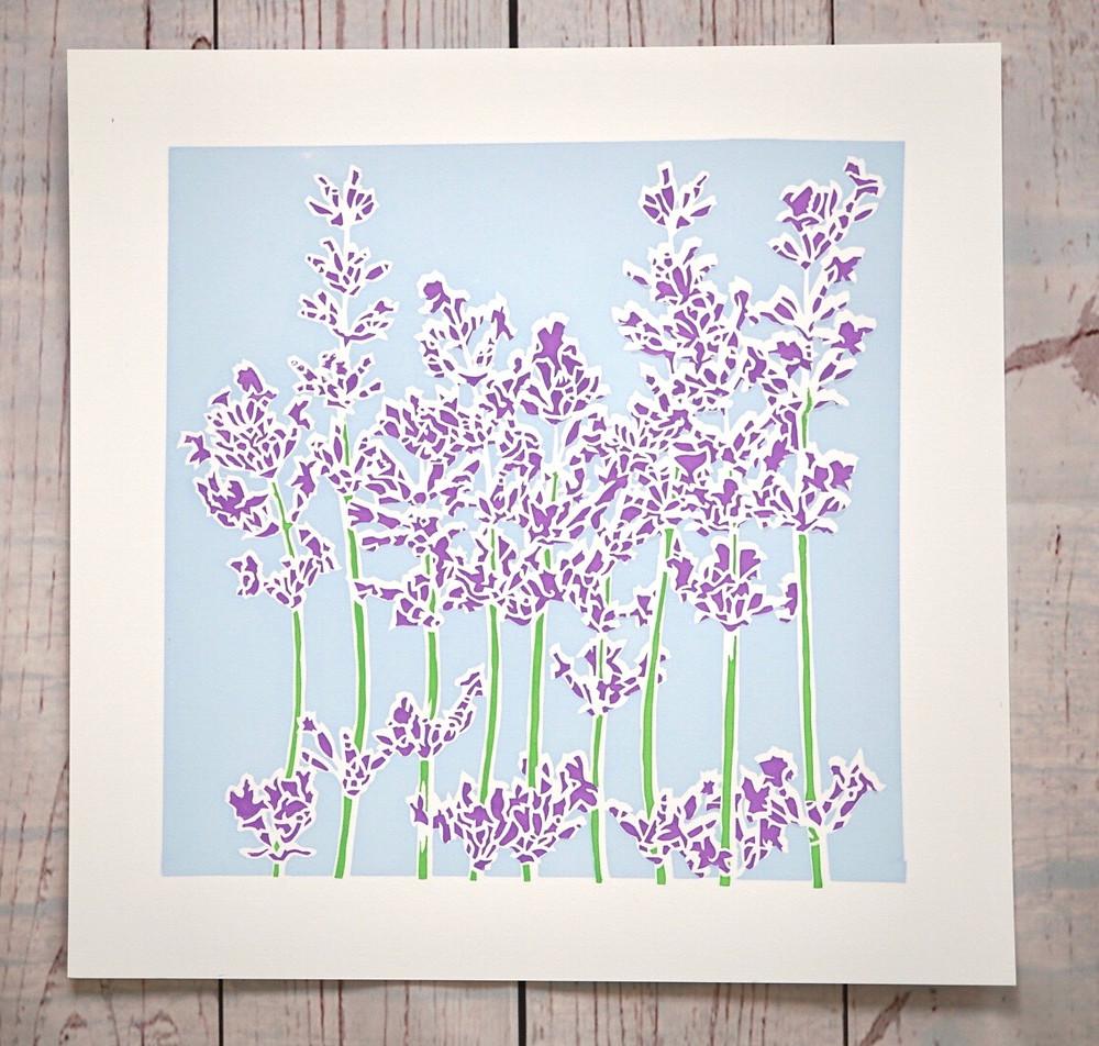 Art print of purple lavender on a blue background