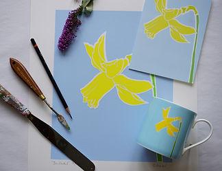yellow daffodil print and daffodil mug .