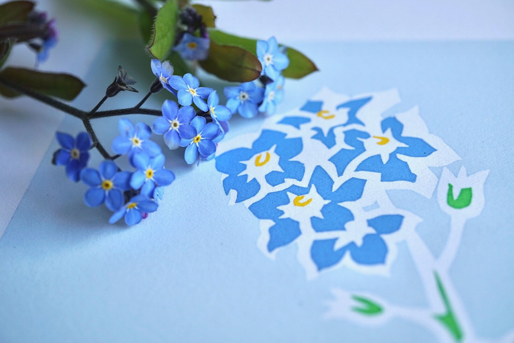 blue forget me not flowers with forget me not art