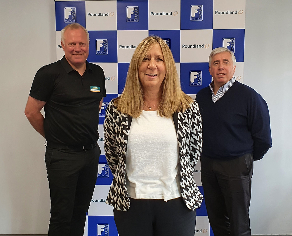 Poundland managing director Barry Williams with Fultons' managing director Karen Rees and Fultons' chairman Kevin Gunter.