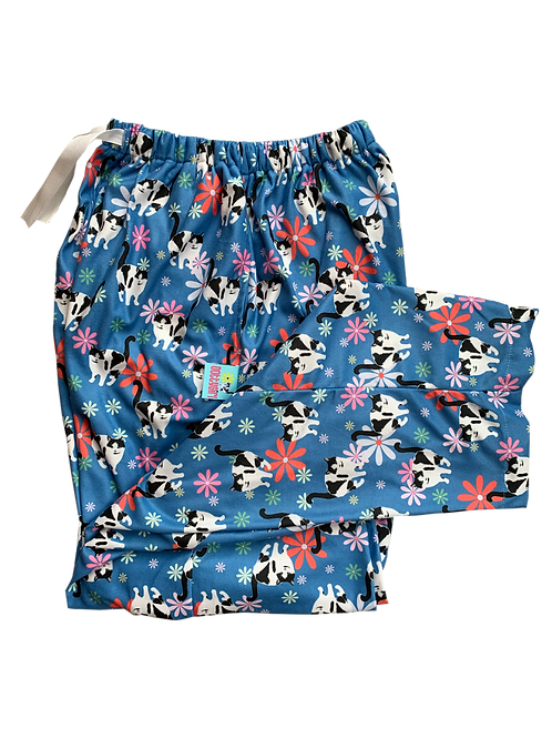 Flowers - Blue Heavyweight fleec