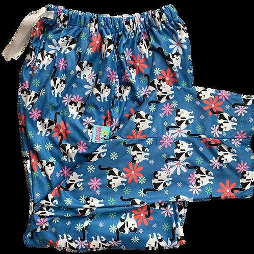 Flowers - Blue Fleece