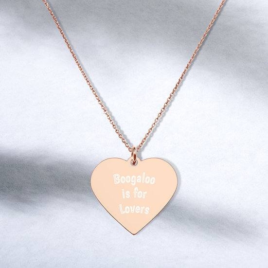 """Engraved Silver """"Boogaloo is for Lovers"""" Heart Necklace"""