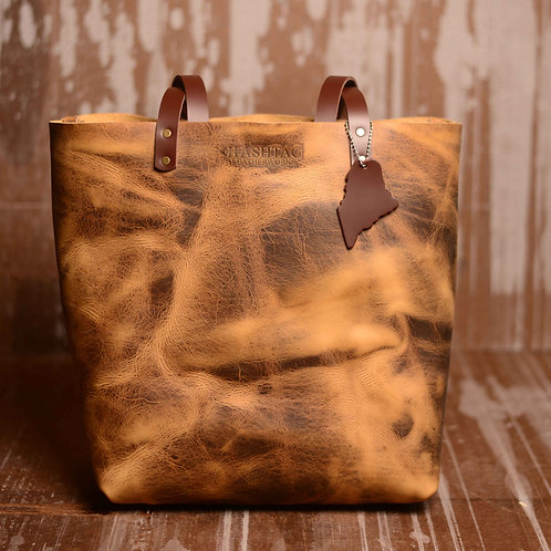 Leather Castine Tote w/ Maine Accent - Color: Old Town