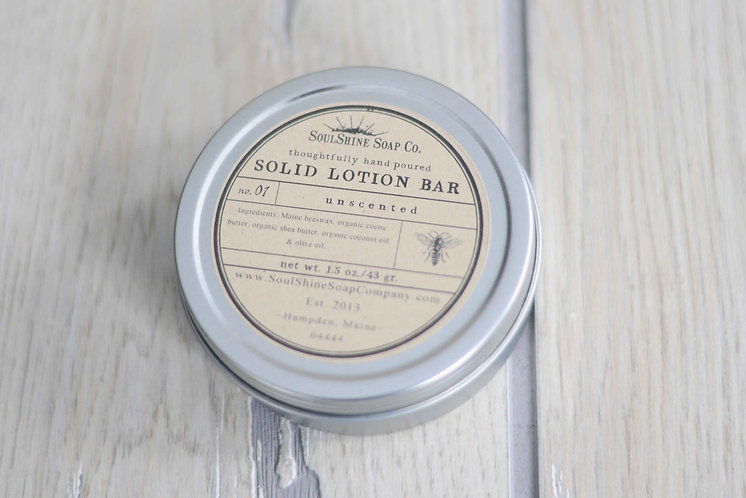 Unscented Organic Solid Lotion Bars