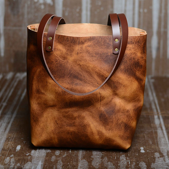 Hand-stitched Portland Tote (Color: Prairie Wheat)