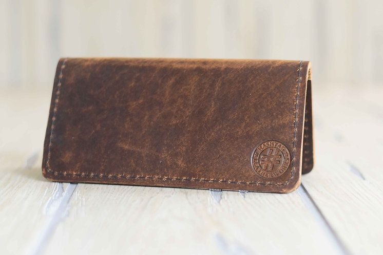American Bison Leather Checkbook Cover Color: Maple Candy