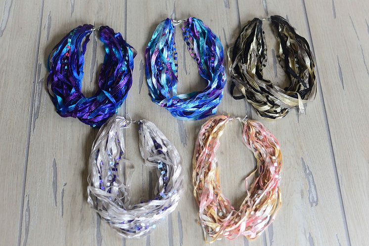 """Fiber Necklace - 12"""" & 18"""" Ribbon Collection"""
