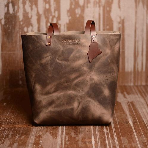 Leather Castine Tote w/ Maine Accent - Color: Gunmetal