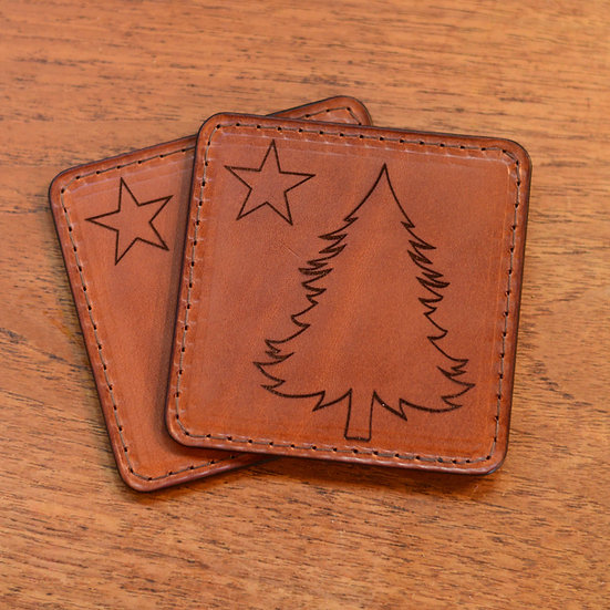 Real Leather Maine 1901 Themed Flag Coasters