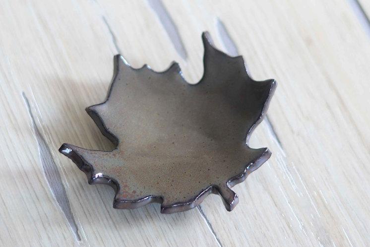 Ironstone Maple Leaf Teabag/Spoon Rest
