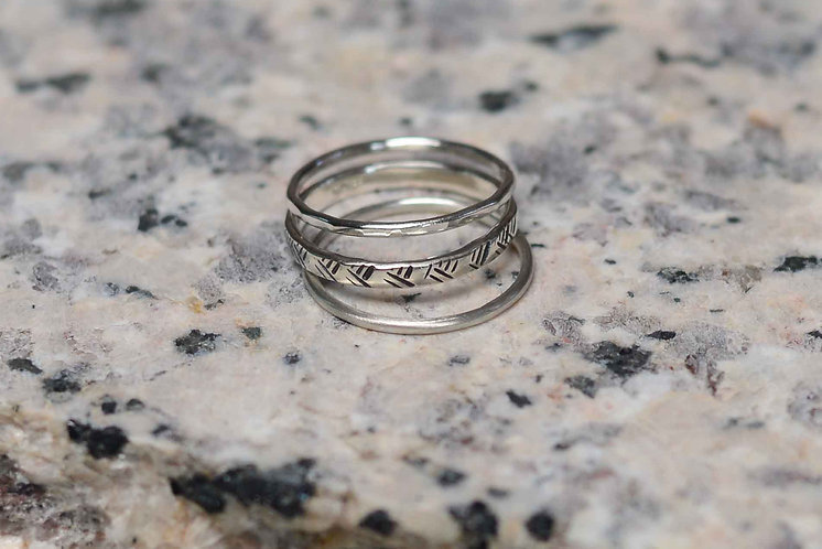 Sustainable Stacking Rings: Crosshatch