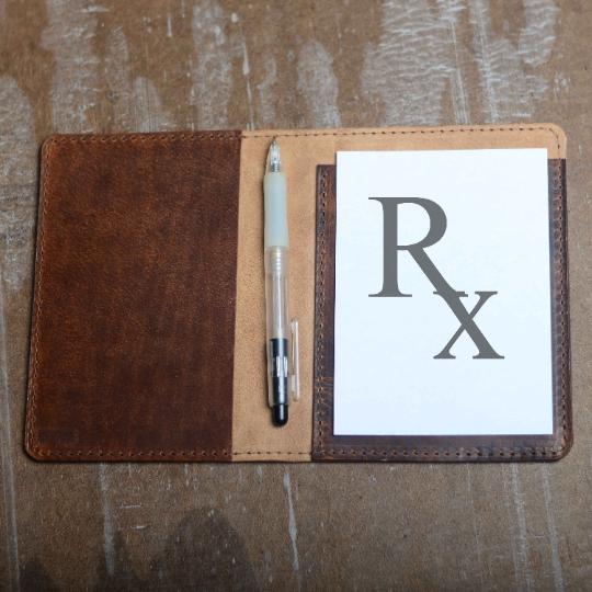 Real Leather Prescription Pad Rx Cover, Portrait
