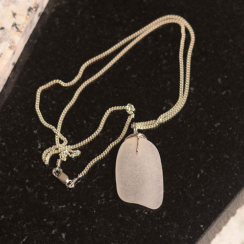 Casco Bay Sea Glass Necklace: White