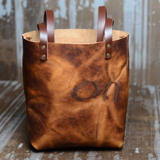 """Hand-stitched and Branded """"on"""" Portland Tote (Color: Prairie Wheat)"""