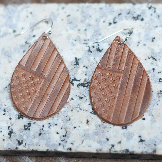 US Flag Teardrop Earrings - Leather
