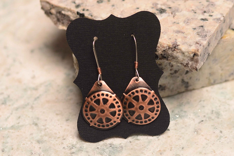 Embossed Copper Earrings- Tear Drops - Multiple Options