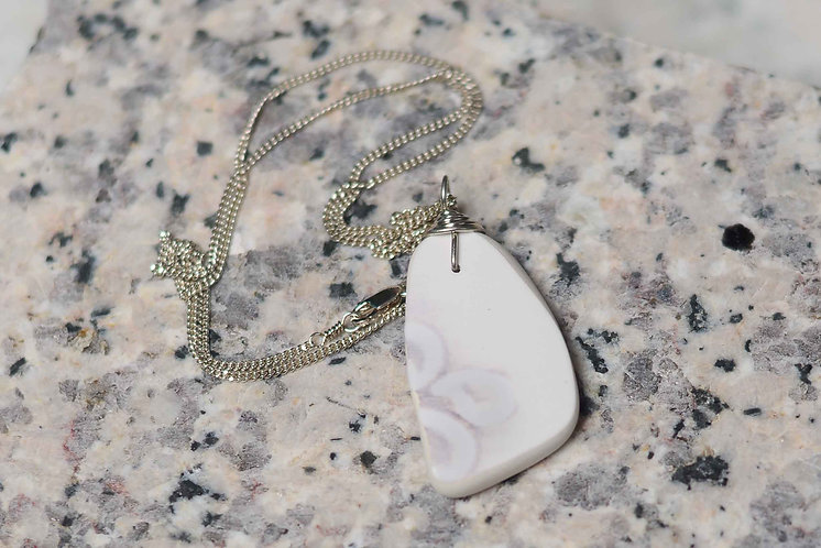 White Pottery Shard Necklace