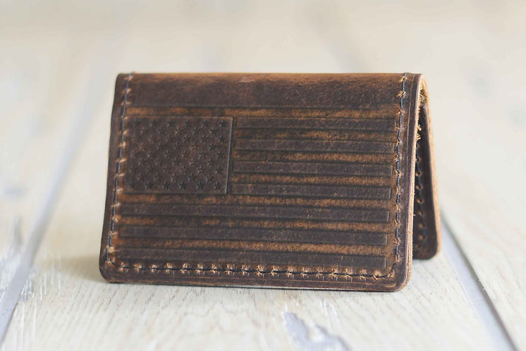 "American Bison ""American Flag"" Minimalist Wallet"