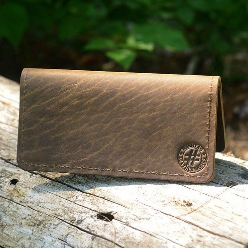 America Bison Leather Checkbook Cover - Color: Natural