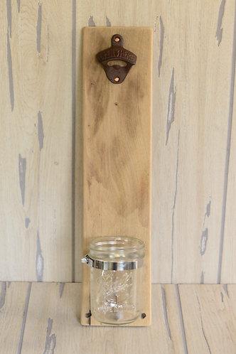 Wall Mounted Bottle Opener w/ Mason Jar Catch