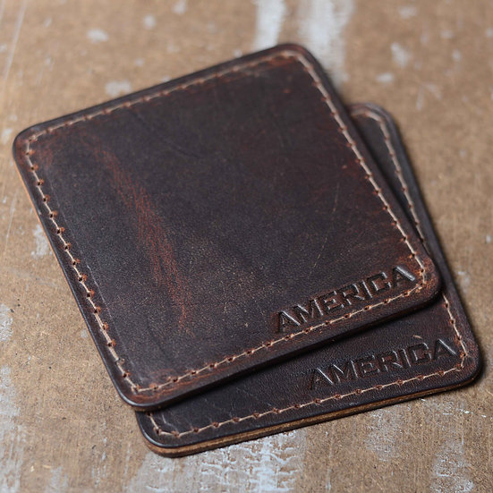 "Rustic ""America"" Leather Coasters"