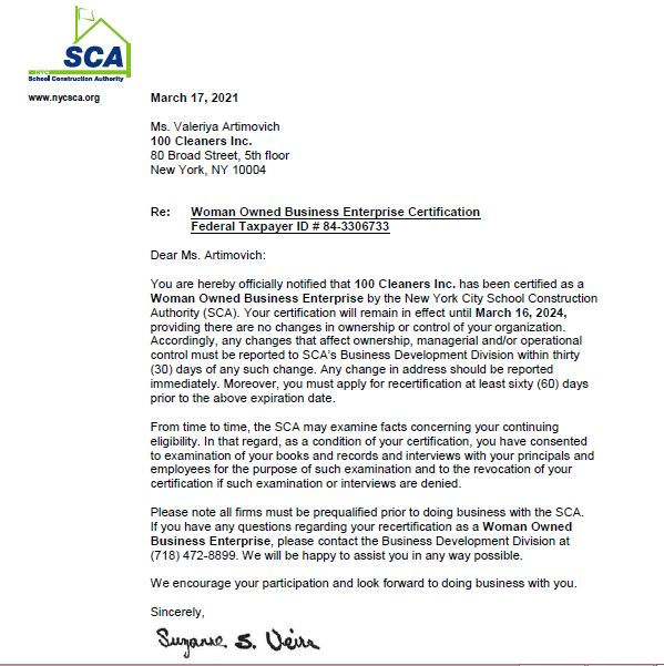 SCA Certification Letter - 100 Cleaners