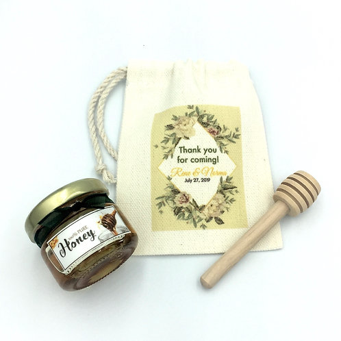 30g Honey giveaway with dipper and personalized pouch